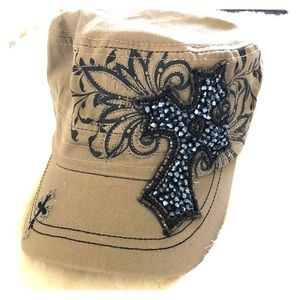 Hat with rhinestone cross by kbethos **NEW**